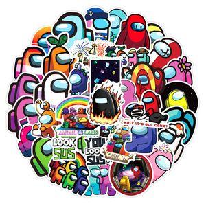 Игра 50 шт. / Упаковка Горячая распродажа игры среди нас на наклейки на наклейки для ноутбука Мотоцикл Скейтборд Компьютерный мобильный телефон наклейка мультфильм игрушка