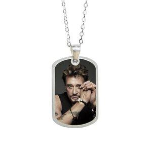 Songda Classic Rock Singer Johnny Hallyday Art Picture 3D Impresión Collar Colgante Música Fan Souvenir (Puedes enviar fotos para personalizar)