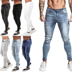Gingtto cintura elástica flaca hombres 2020 estiramientos rasgados pantalones streetwear mass denim jeans azul