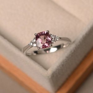 Japan and South Korea simple zircon pink topaz stone diamond four claw ring inlaid S925 sterling silver ladies take hand jewelry