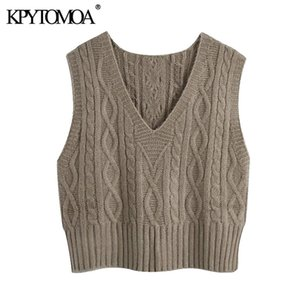 KPYTOMOA Women Fashion With Ribbed Trims Cable Knitted Vest Sweater Vintage V Neck Sleeveless Female Waistcoat Chic Tops 201124
