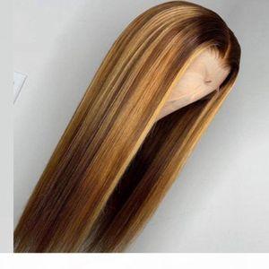 OMBRE DESTACADA Peluca Marrón Miel Rubio de color HD Todo Frente De Encaje Delantero Pelucas De Pelo Humano Recto 13x6 Parte Medio Encaje Frontal Wig Remy Remy