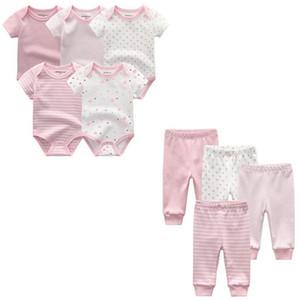 9PCS LOT Designer Newborn Baby Boy Clothes Sets 100% Cotton infant Girl Clothing Ropa Bebe Pants Toddler Clothing Set Y200803