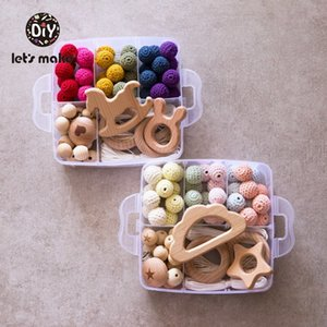 Let's Make Bed Bell Educational Toys DIY Set Handwork Crochet Beads Ring Baby Teething Toys Star Trojan Cloud Wooden Rattles Z1124