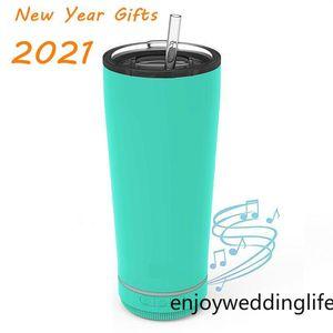 2021 Fashion Ano Novo Presente 18oz Creative Bluetooth Music Music Tumbler à prova d 'água Parede dupla térmica de aço inoxidável copo de café portátil