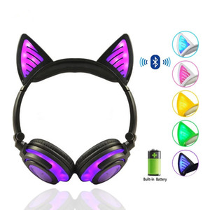 Birthday Gift Wireless Bluetooth Earphone Foldable Flashing Cat Ear Children Headphones Gaming Headset With LED Light