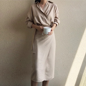 Women's Dress Summer Spring Sashes Belt Waist New Asymmetrival Dresses Turn-down Collar Wrap Elegant Long Evening Party Ladies