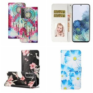Marble Wallet Leather Case For Samsung S30 Ultra S20 FE A42 Huawei P Smart 2021 MOTO G9 PLUS One Plus 8T Flower Dream catcher Stand Cover