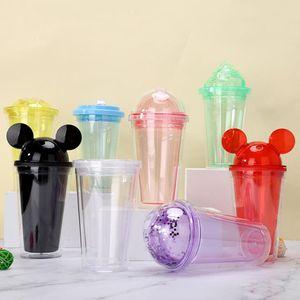 8 renkler 15 oz akrilik tumbler kubbe kapağı ile artı saman çift duvar temizle Plastik Tumblers Kulak Kullanımlık Çocuklar için Sevimli İçecek Kupası