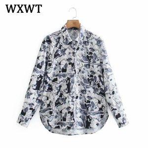 Wxwt mode femme poche numérique décorer chemise chemise chemisier long manches chics chic femme bureau femme élégante chemise blusas fémininas