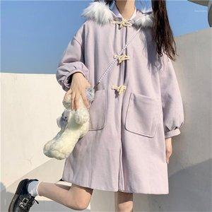 Японский новый Preppy стиль ветровка пальто сладкие мультфильмы с капюшоном милый меховой воротник шерстяной ткань Kawaii Horn Button Bownbreaker1