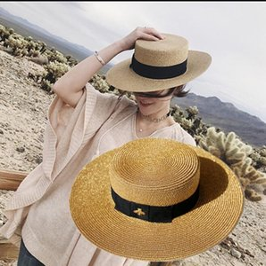 Весна и лето Новый Ретро Золотая плетеная плоская голова соломенная шапка леди шириной шириной карниза солнцезащитный крем Sun Hat PS0454