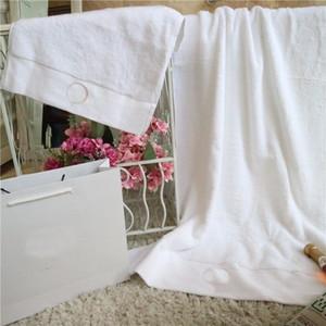 Beyaz 2 adet Havlu Moda Desen Banyo Havlu Seti Yumuşak Cilt Dostu Pamuk Yüz Havlu Banyo Yetişkin Çocuklar Için Banyo Havlu