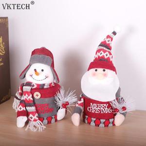 Christmas Gift Box Candy Box Santa Claus Snowman Plush Doll Ornament Christmas Desktop Decoration Jewelry Kids Gifts