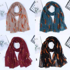 Printing Scarf Fox Simplicity Versatile Lady Muffler New Multi Color Woman Fashion Neckerchief Autumn Christmas 6 5sd K2