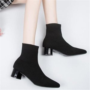 Hot Sale-Elastic boots female high-heeled square head knit socks shoes new tube wild wild winter boots women's ankle for women