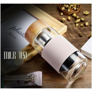 350Ml 12Oz Glass Water Bottles Heat Resistant Round Office Tea Cup With Stainless Steel Tea Infuser Strainer Tea Mug Car Tumblers Dbc Mgsba