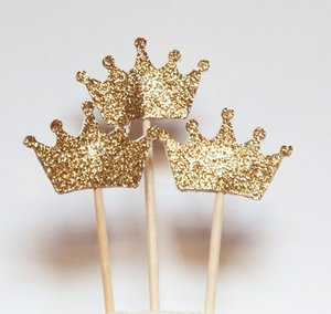 10Pcs Glitter Crown Cake Topper Wedding Birthday Party Decoration BABY SHOWER for Love Family Birthday Party Baking Decoration Supplies