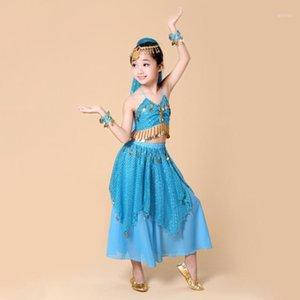 Детские танцы живота Bollywood Performance Costumes Индия танцевальная одежда детский животный 4шт / комплект (топ + юбка + браслет + головной убор) 1