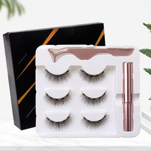 Glue-free Magnetic Eyelashes Sets Magnet Liquid Eyeliner Tweezer Set Waterproof Long Lasting Reusable Eyelash Extension Tools