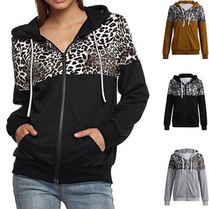 Women Long Sleeve Hoodies Zipper Leopard Printed Casual Hoodie Sweatshirt Autumn Winter Hooded Coat Plus Size Female Hoodies
