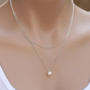 New Fashion Pearl Choker Necklace Double Layer Chain Pendant For Women Jewelry Girl Gift