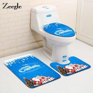 Zeegle Christmas Decora 3 unids Aseo de inodoro Cuarto de baño Set de la estera de baño antideslizante alfombrillas de piso absorbente Tapa absorbente Tapa de inodoro Mats de baño OWC3829