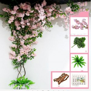 Artificial tree christmas Tree Stem with Cherry Blossom Flower Dried branches Rattan sets for home wall decoration decor