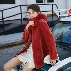 Herstory Elegant Collar Hood Sheep Sheared Mid Length Women Coat Fur Wool Grain Outwear Autumn and Winter Warm Red Jacket