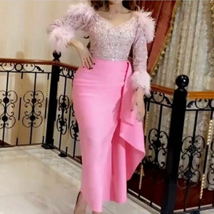 Pink Nigearian Evening Dresses V Neck Long Sleeves Beads Sequins Feathers Mermaid Prom Dress Ankle Length Party Gown vestidos de fiesta