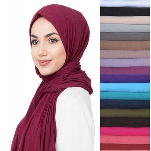 10pcs lot Premium Jersey Stretchy Fabric Muslim Hijab Head Scarf Shawl Wrap Turban Solid Colors 201026