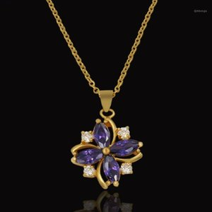 Golden Statement Pendent High Quality Crystal Flower Necklaces Pendants For Women Gold Color Cute Pendant With Chain Colar1