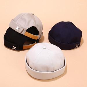 Beanies 2021 Skullcap 레트로 선원 모자 남성 여성 따뜻한 압연 커프 버킷 무당이없는 모자 조정 가능한 면화 ylm99051