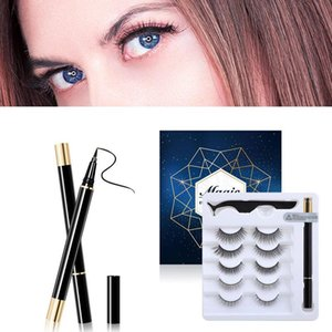Magnetic Eyelashes Eyeliner Set Makeup Natural Thick Curler 5 Pairs False Eye Lashes Kit Magnetic Eyeliner Lasting Eye Make Up