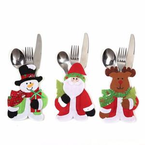 Santa Snowman Moose Christmas New Year Pocket Fork Knife Cutlery Holder Bag Non-woven Table Dinner Decoration DHE1779