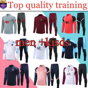 Nuovo 20 21 Marsiglia Uomo Football Training Trainsuit Real Madrid Soccer Training Suit 2020 2021 Bambini Mbappe Survedeement de Foot Chandal Jogg