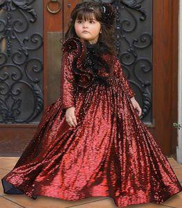 Burgundy Sparkly Flower Girl Dresses Sequined Long Sleeves Little Girl Pageant Dresses Wedding Dresses Cheap Communion Gowns V34