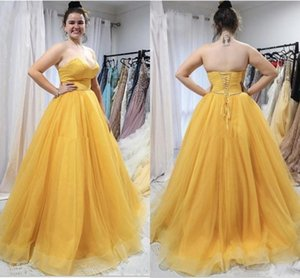 Cheap Yellow Sexy A Line Prom Dresses Sweetheart Satin Tiered Tulle Floor Length Evening Gowns Formal Dress Robe De Soriee