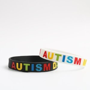 2PCS Love Autism DAD and MOM High Quality Silicone Wristband Bracelet 2 Colors Available Black White Bangles Family Gifts1