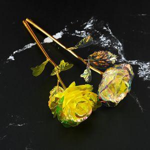 24k Folha de Ouro Rosa Flower Presentes de Aniversário Feminino Criativo Dia Dos Valentim Presente Fotografia Simulação de Aniversário Flores Folha Banhada Ouro Vtky2162