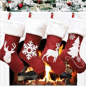 Christmas tree pendant gift bag kenaf elk snowflake embroidery Christmas socks Christmas gifts 46cm