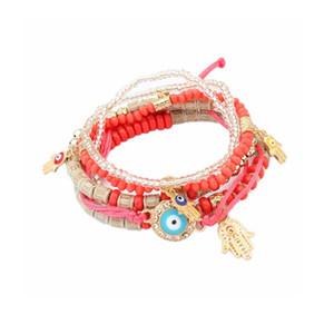 Lureme Bohemian Beads Multi Strand Hamsa Hand Evil Eye Charms Stretch Bracelet Set for Women Gift (bl003164)