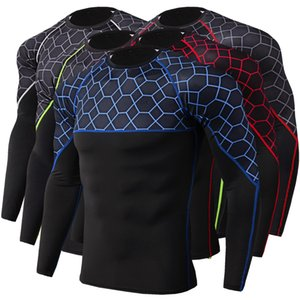 2020 Men fitness long sleeve cycling base wear male bodybuilding skin sport compression bike training shirt base layer clothing