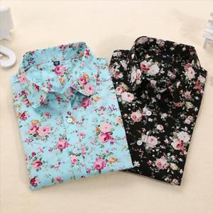 Dioufond Femmes d'été Blouses Vintage Floral Blouse Chemise à manches longues femmes Camisas Femininas Hauts pour femmes Mode Chemise en coton