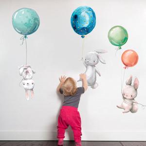 Tavşan Duvar Çıkartmaları Çocuk Odası Paskalya Duvar Sticker Dekorasyon Balon Bunny Çocuk Kız Kreş Duvar Çıkartması HHD4700