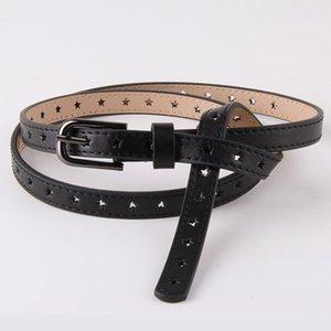 Hollow Pentagram Belt Ladies Vintage Alloy Pin Buckle Thin Waist Strap Simple Wild Cowhide Belt With Dress Jeans