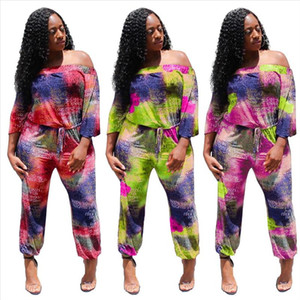 2019 autumn winter women sexy jumpsuit Slash Neck Full Sleeve Sashes club party sexy romper playsuit Overalls tie dye GLM212