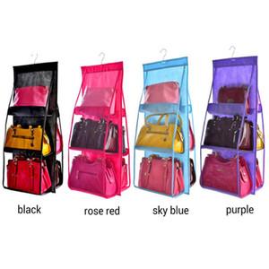 Handbag Storage Bag Hanging Storage Transparent 6 Grid 6 Pockets Closet Purse Non-Woven Fabric Organiser Wardrobe Durable