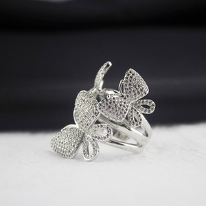 925 Sterling Silver Ring Women Diamond Butterfly Rings Wedding Engagement Vintage Jewelry