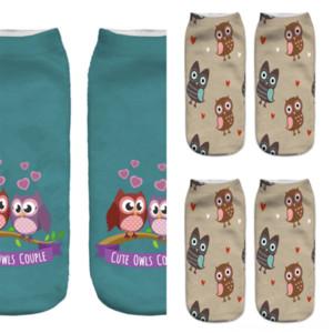 ZFP9U Çorap Çorapları için Fashionmens Çiçek Baskı Çeyrek Hayvan Baskı Ayak Bileği Yeşil Çorap Burnaby Yüksek Pamuk Baykuş Çalıştırmak